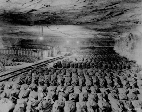 The gold treasure in German salt mines Kaiserode, 1945, Bavaria.