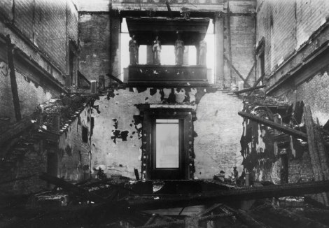 After the war, a debate broke out in Germany over whether to rebuild exact copies of old buildings or to radically depart from pre-war Germany. Many felt that it was not. Others felt that radical modernism ignored centuries of pre-war German history. Some projects, like the New Museum in Berlin, pictured here after a 1943 bombing raid.