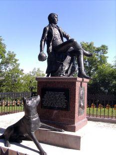 Rebuilt memorial to the young Bismarck at the Rudelsburg in Saxony-Anhalt.