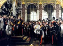 Anton von Werner's patriotic, much-reproduced depiction of the proclamation of Wilhelm I as German emperor in the Hall of Mirrors at Versailles. Focus is on Bismarck, center, wearing white uniform. (1885)