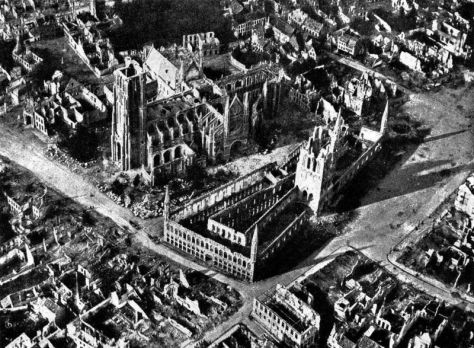 A 1917 aerial view shows the ruins of the Belgian town of Ypres, which was situated near to Sanctuary Wood. Ypres was at the centre of some of the most intense battles of World War One.
