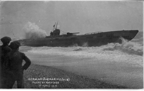 SM U-118 shortly after being beached at Hastings.