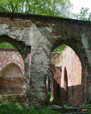 Ruins of Augustinians' cloister in Jasienica, Poland.