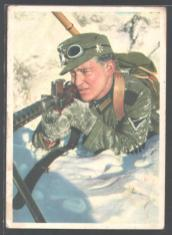 This postcard shows a pre-war Gebirgsjäger, and probably pre-issue (1938) of the standard sleeve and cap Edelweiss. The stemless Edelweiss on his cap is a World War I Alpenkorps Edelweiss. As you noted, his waffenfarbe is for Gebirgsartillerie. The machine gun he is using is the Austrian MG-30