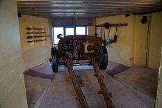 PAK 40 anti-tank gun inside a restored bunker.