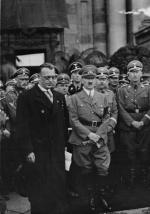 Seyß-Inquart, Adolf Hitler, Heinrich Himmler, and Heydrich in Vienna, March 1938.