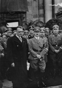 Seyß-Inquart, Adolf Hitler, Heinrich Himmler, and Heydrich in Vienna, March 1938.