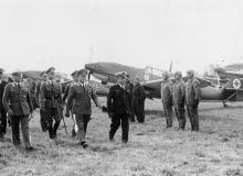 Inspection of the JG 2's Bf 109s, Hans-Jürgen Stumpff, Erhard Milch and Joseph Vuillemin.
