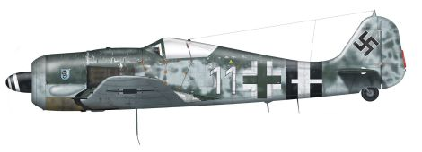 Focke Wulf Fw 190 A-8 of 5./JG 4, flown by Gefreiter Walter Wagner during Operation Bodenplatte.
