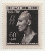 Postage stamp (1943) features the death mask of Heydrich.