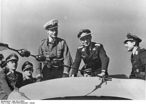 Werner Henke aboard his U-515 with visitors from the Luftwaffe.