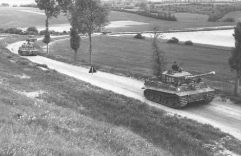 Wittmann's company, 7 June 1944, en route to Morgny. Wittmann is standing in the turret of Tiger 205.