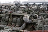 Rows of tank engines are seen at the compound of Koch Battle Tank Dismantling.