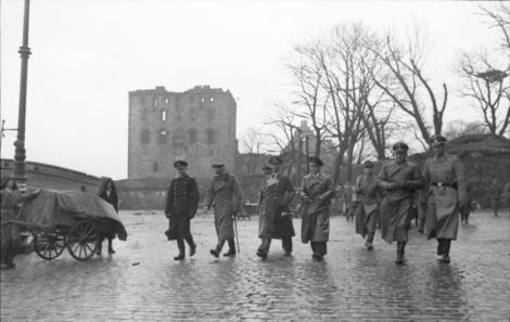 "German officers from Kriegsmarine , Deutsches Heer and Waffen SS on exploration in Bergen after the Explosion on the Libra on April 20, 1944 when the ammunition ship ""Vorboode"" and parts of the city were blown up. Josef Terboven is number four from the left (with light fence). Besides, Admiral Otto von Schrader."