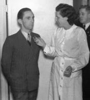 Riefenstahl in conversation with Propaganda Minister Joseph Goebbels, 1937.
