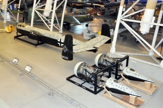 The NASM's partly restored He 219 A-2 with its unitized DB 603 engines and fuselage.