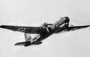 """The second He 177A-0 production prototype (A-02) with broad-bladed propellers, bearing radio code """"DL+AQ""""."""