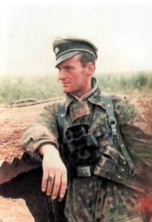 """SS-Untersturmführer Franz-Josef """"Franzl"""" Kneipp (19 September 1911 - 12 October 2002) in Normandy front, June 1944. He was a signal officer (Nachrichtenoffizier) in the III.Bataillon / SS-Panzergrenadier-Regiment 25 / 12.SS-Panzer-Division """"Hitlerjugend""""."""