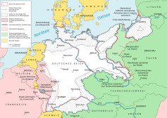 Consequences of the Treaty of Versailles: dotted areas were demilitarized zones.