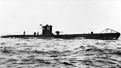 Although this photograph is undated, it was probably taken pre-war, as U-52's number, here visible on the conning tower, was painted out on the commencement of hostilities.