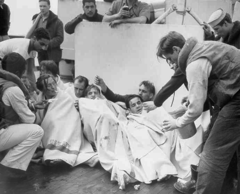 Survivors from German submarine U-175 after being sunk by USCGC Spencer, 17 April 1943.
