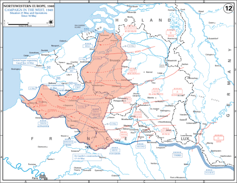 German advances during the Battle of Belgium.
