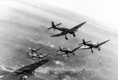 "The Ju 87 ""Stuka"" dive-bomber was used in blitzkrieg operations."