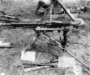 The MG 42 mounted on the Lafette 42 tripod.