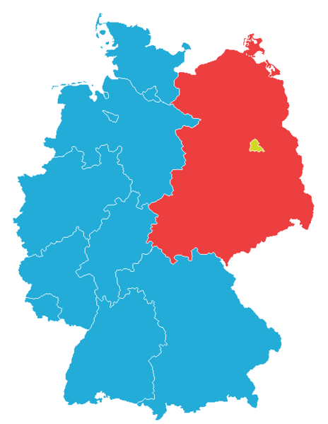 Map showing the division of East and West Germany until 1990, with West Berlin in yellow.