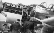 """The powerplant; a Jumo 211D installed in a Ju 87 B — the """"Jericho Trumpet"""" siren housing is faired over on the main gear leg."""