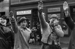 Ethnic Germans in the city of Eger (Czech: Cheb) greeting Hitler with the Nazi salute after he crossed the border into the formerly Czechoslovak Sudetenland on 3 October 1938.