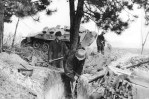 RAD members digging a trench for a RAD flak battery in March 1945.