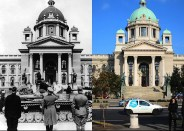 "House of the National Assembly in Belgrade – then and now. After nine SS men from the ""Reich"" Division used the general confusion and formally captured the Yugoslav capital on 12 April 1941, a victory parade of the true conqueror of the city, the 1st Armoured Group, was held on 13 April at noon. In the (old) photo, tanks of the Panzer-Regiment 15 / 11.Panzer-Division ""Gespensterdivision"" (Ghost Division) parade in front of their commanders: standing in the centre is Generaloberst Ewald von Kleist (commander of the armoured group), to his right is Generalmajor Ludwig Crüwell (divisional commander), and on the left, in black uniform, is Oberstleutnant Gustav-Adolf Riebel (commander of the division's panzer Regiment)."