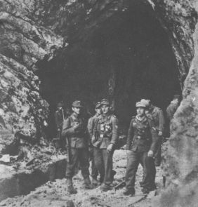 German soldiers during the operation in front of Tito's cave hideout.
