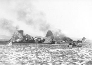 Destroyed P-47s at Y-34 Metz-Frescaty airfield, destroyed during Operation Bodenplatte.