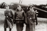 On 18 December 1939 German fighters met a formation of 22 Wellington bombers and almost annihilated them. They destroyed 14 bombers; four were very badly damaged, and the remaining four were less badly damaged. One of the destroyed bombers was a Wellington Mk I, N2936, LF-J of 37 RAF Squadron which was shot down into the sea close to the German coast, most probably by Oberstleutnant Carl Schumacher (Geschwaderkommodore Jagdgeschwader 1) at 14:35. The whole crew led by bomber pilot Sergeant Herbert Ruse was rescued by the Germans and taken prisoner. Here we see Ruse escorted by Luftwaffe soldiers.