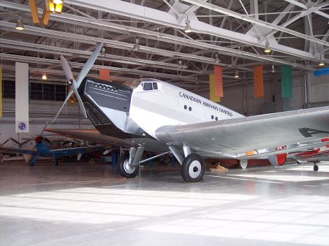 "Ju 52/1m replica (converted from 52/3m) of ""CF-ARM"" at the Royal Aviation Museum of Western Canada, Winnipeg, Manitoba, Canada."