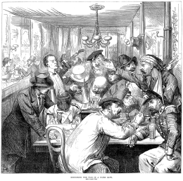 """""""Discussing the War in a Paris Café""""—a scene published in the Illustrated London News of 17 September 1870."""