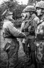 General of the Parachute Troop Eugen Meindl with his Green Devils in Tarn on June 21, 1944.