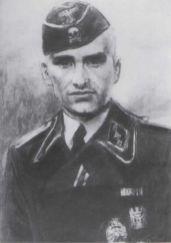 SS Untersturmfuhrer Eggers in Waffen SS uniform after a drawing.