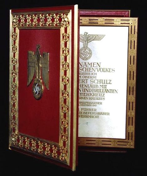 Document case of the Knight's Cross of the Iron Cross with oak leaves, swords and diamonds for Adalbert Schulz.