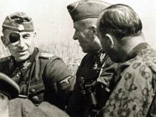 "SS Obergruppenfuhrer and General of the Waffen-SS Paul ""Papa"" Hausser ( Commanding General II SS Panzer Corps ), SS-Oberführer Hermann Prieß (Commander SS-Panzergrenadier-Division ""Totenkopf"" ) and SS-Obersturmbannführer Otto Baum (Commander SS- Panzergrenadier-Regiment ""Totenkopf""), early summer 1943."