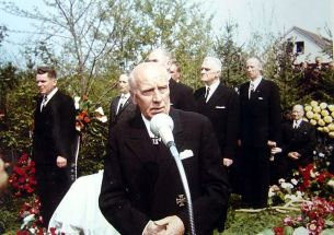 """SS-Obergruppenfuhrer and General of the Waffen-SS retired Wilhelm """"Willi"""" Bittrich at the burial ceremony for SS Colonel Gruppenfuhrer and Colonel-General of the Waffen-SS a. D. Josef """"Sepp"""" Dietrich , 1966."""