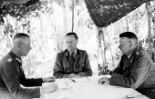 """Werner Kempf (right) during a briefing with Hermann Breith (center) and Walter Chales de Beaulieu (left) during the Operation """"Zitadelle"""" near Kursk on June 21, 1943."""