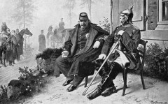 Napoleon III and Bismarck talk after Napoleon's capture at the Battle of Sedan, by Wilhelm Camphausen.