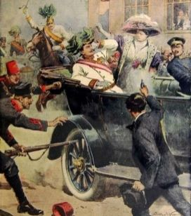 Assassination illustrated in the Italian newspaper Domenica del Corriere, 12 July 1914 by Achille Beltrame.