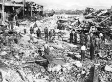Damage from the German bombing of Piraeus on 6 April 1941. During the bombing, a ship carrying nitroglycerin was hit, causing a huge explosion.