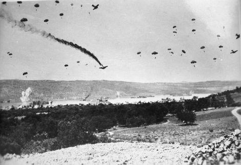 German paratroopers land in Crete.