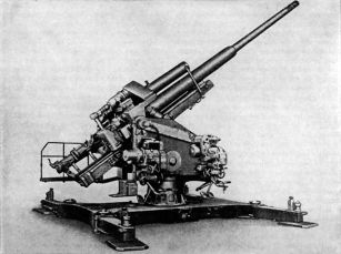 A static mounted 12.8 cm Flak 40.