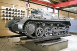 "Panzer I tank in a museum, with Polish-campaign ""white cross"" German insignia."